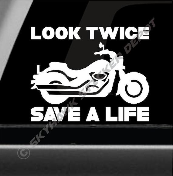 Look Twice Save A Life Vinyl Decals Stickers Helmets Windscreen Bumper Sport