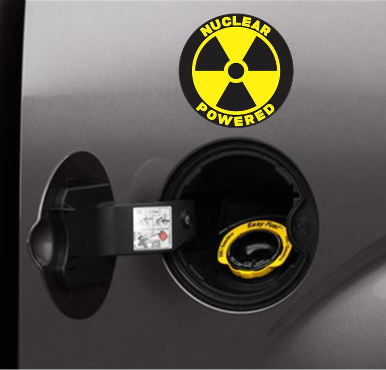 86933e85ee Nuclear Powered Funny Bumper Sticker Vinyl Decal Nuke Sticker