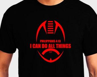 Philippians 4:13 Red Football Shirt - I Can Do All Things - Christian T-Shirt - Christian Apparel - Faith Shirt - Religious Shirt