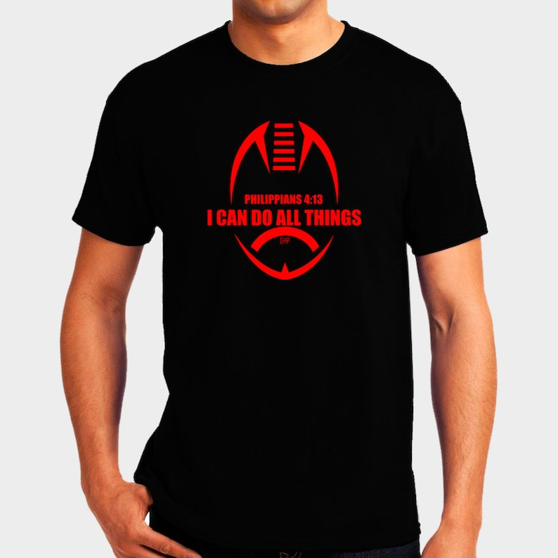 Philippians 4:13 Red Football Shirt  I Can Do All Things  image 0