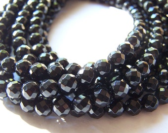 Black Onyx 6mm Faceted Round Beads 15 inch strand