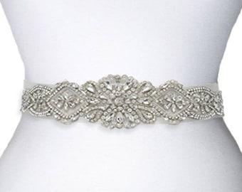 Crystal Bridal Sash, Crystal Wedding Belt, Beaded Sash, Wedding Dress Belt, Beaded Belt, Rhinestone Trim, LAURA