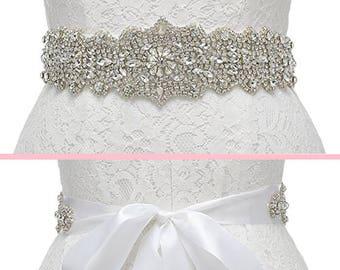 Crystal Bridal Sash, Crystal Wedding Belt, Beaded Sash, Wedding Dress Belt, Beaded Belt, Rhinestone Trim, JESSICA