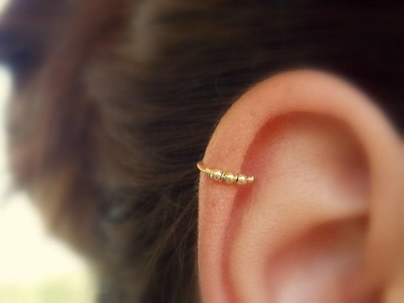 Beaded cartilage earring  Helix hoop  Cartilage piercing  image 0
