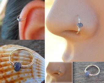 Tiny Hoop Nose Ring - Jade Nose Ring - Septum Nose Ring - Gold Filled Nose Ring - Nose Piercing Ring - Nose Ring -Nose Hoop - Hoop