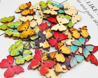 Packung mit 100 Stück Schöne Holz 2 Löcher Marienkäfer Tasten