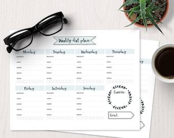 Bujo weekly diet planner | bullet journal template, bullet journal printable, bujo template, weight loss, health tracker, goal planner