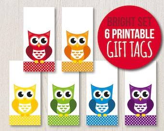 printable christmas gift tags set of 6 printable owl gift etsy