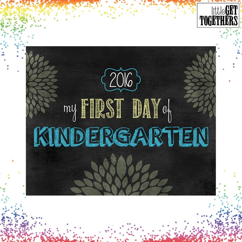 First Day Of School Sign Photo Picture Print Blue /& Yellow Kindergarten Grade Sign INSTANT DOWNLOAD 8x10 Sign Back to School Sign