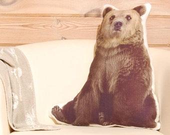 Stuffed Bear Pillow, big stuffed animal, woodland nursery decor, bear plush, animal pillow