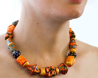 Red Colorful Statement Necklace, Beaded necklace , Paper Mache necklace. Red Palette