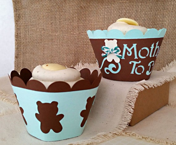 Teddy Bear Cupcakes Brown And Aqua Baby Shower Cupcakes Etsy