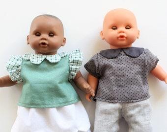 Patron LEONARD poupée 30cm : blouse à cols et manches modifiables