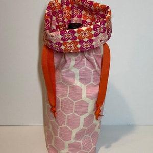 Hostess Gift Pink Honeycomb Wine Bag Reversible Wine Bag Fabric Gift Bag