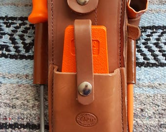 Handmade Amish Logger Leather felling/falling/bucking wedge Timber cutter Pouch w/tools