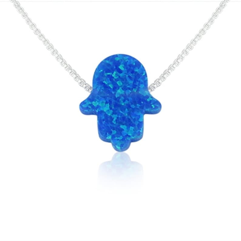 Blue Opal Hand Necklace on 925 Sterling Silver Chain  image 0