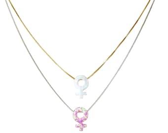 Female Symbol Necklace, Female Necklace, Venus Symbol Necklace, Feminist Jewelry, Feminist Necklace,  Feminism, Opal Necklace