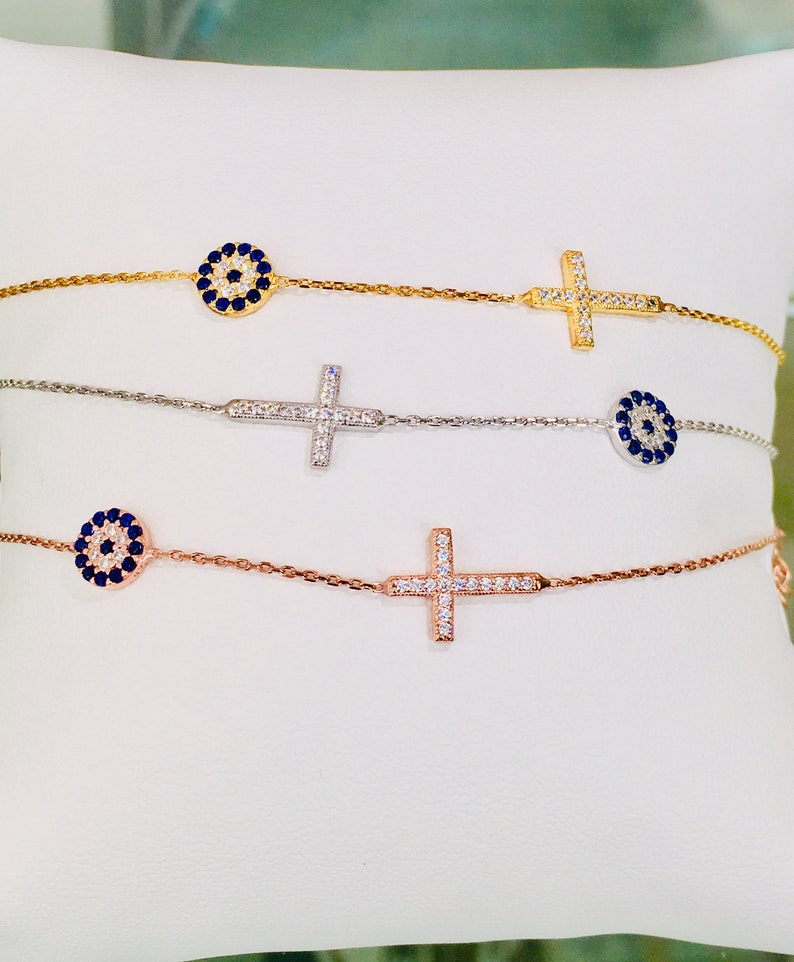 Cross Bracelet Women Cross Bracelet Sideways Cz Cross image 0
