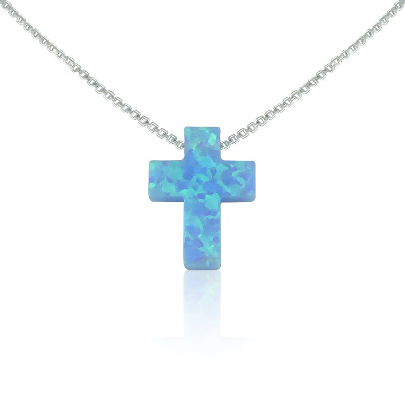 Cross Necklace Opal Cross Necklace Gold Cross Necklace blue-silver-box