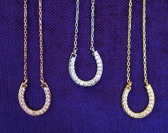 Horseshoe Necklace, in 925 Sterling Silver and Beautiful Zirconia • Universally-Loved Good Luck Equestrian Jewelry • Plus 10% off