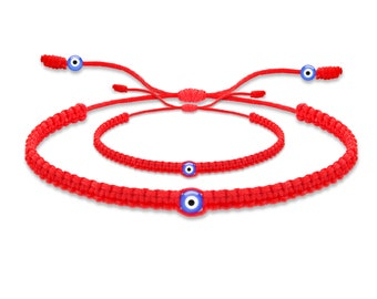 Mommy and Me Red String Bracelet with Evil Eye For Good Luck, Health, and Protection! Hilo Rojo Ojo Turco Bebe, Family Protection Bracelet!