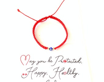 Red Bracelet, Red String Bracelet With Card, Good Luck Bracelet, Family Bracelet, Protection Bracelet, Kabbalah Red Protection, Hilo Rojo