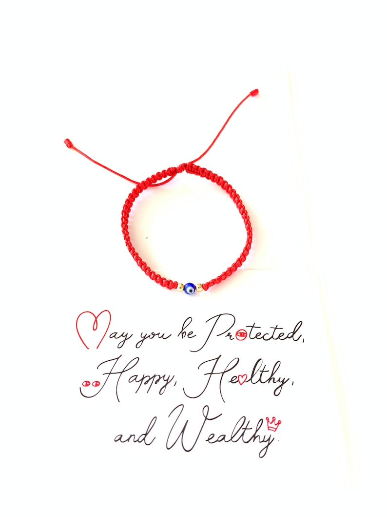 Red Bracelet Red String Bracelet With Card Good Luck image 0