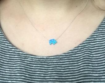 Elephant Necklace, Opal Elephant Necklace, Elephant Gift Girls, Elephant Jewelry, Blue Elephant, White Elephant Necklace, Something Blue!
