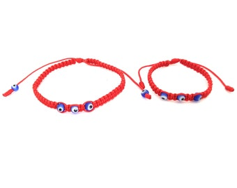 Women's Men's Baby Red String Bracelet and Evil Eye For Good Luck, Health, and Protection! Pulsera Hilo Rojo, Ojo Turco, Family Red Bracelet