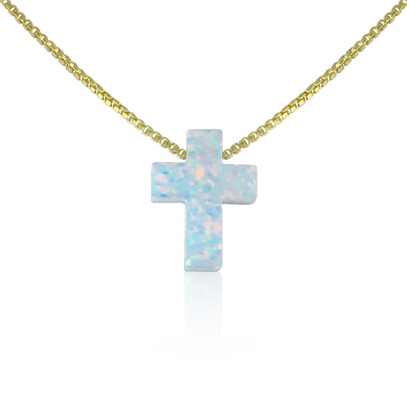 Opal Cross Necklace 10 Chain Lengths2 chain white-gold-box
