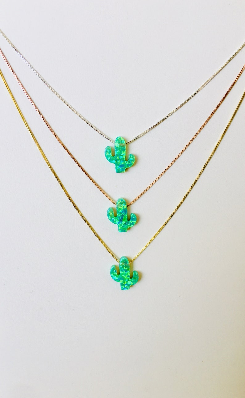 Cactus Gifts Necklace Cactus Jewelry Green Gift Green image 0