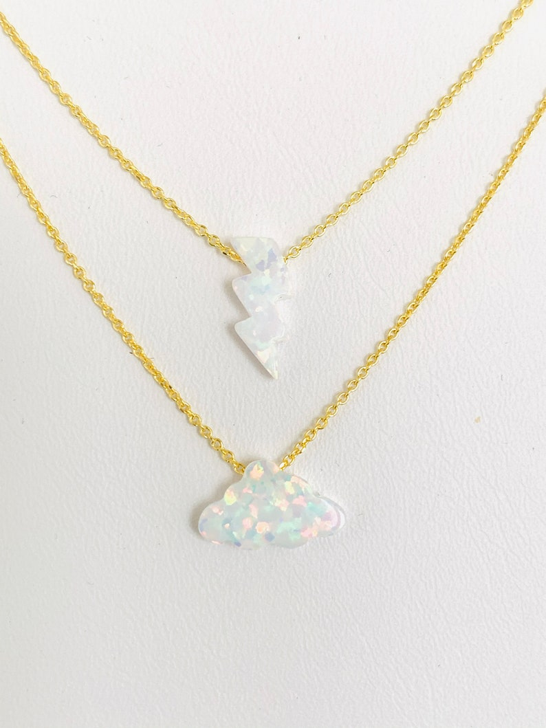 Cloud Necklace Lightning Bolt Necklace Each Sold Separately image 0