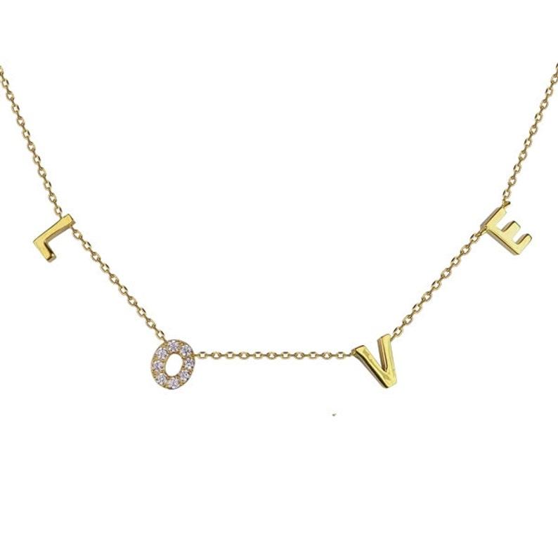 Love Necklace5 LengthsBridal NecklaceBridesmaids Rose - (CZ O)