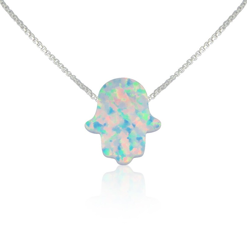 White Opal Hand Necklace Hamsa Hand Sterling Silver Gold image 0
