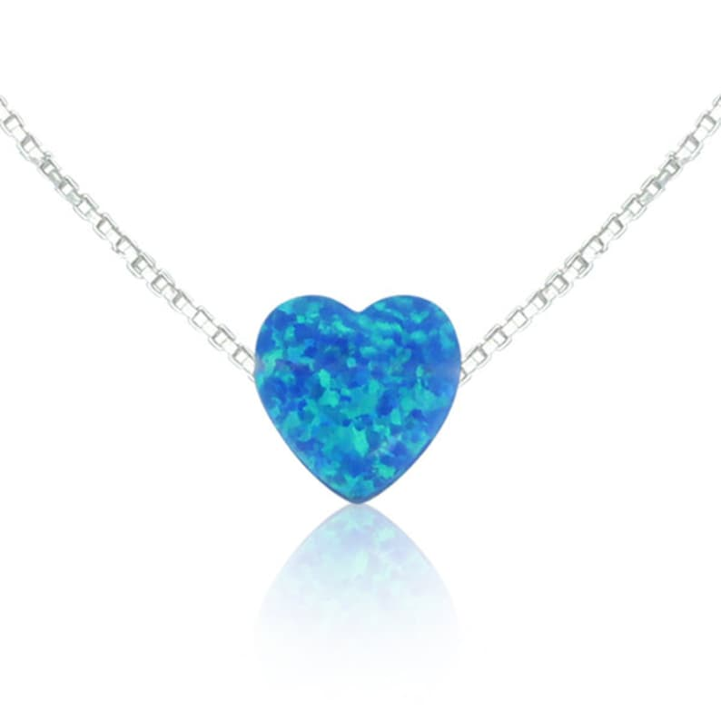 Heart Necklaces Opal Heart Love Gift For Her Heart image 0