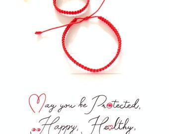 Red Bracelet, Red String Bracelet with Card, Kabbalah Red Bracelet, Good Luck Simple Bracelet, Family Protection Bracelet, Waterproof