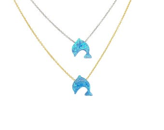 Dolphin Necklace, Dolphin Gift, Dolphin Opal, Dolphin Jewelry, Beach Jewelry, Kids Gift, Dolphin Choker, Summer Necklace