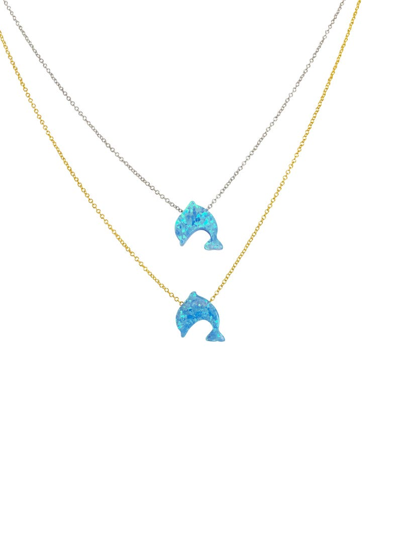 Dolphin Necklace Dolphin Gift Dolphin Opal Dolphin Jewelry image 0