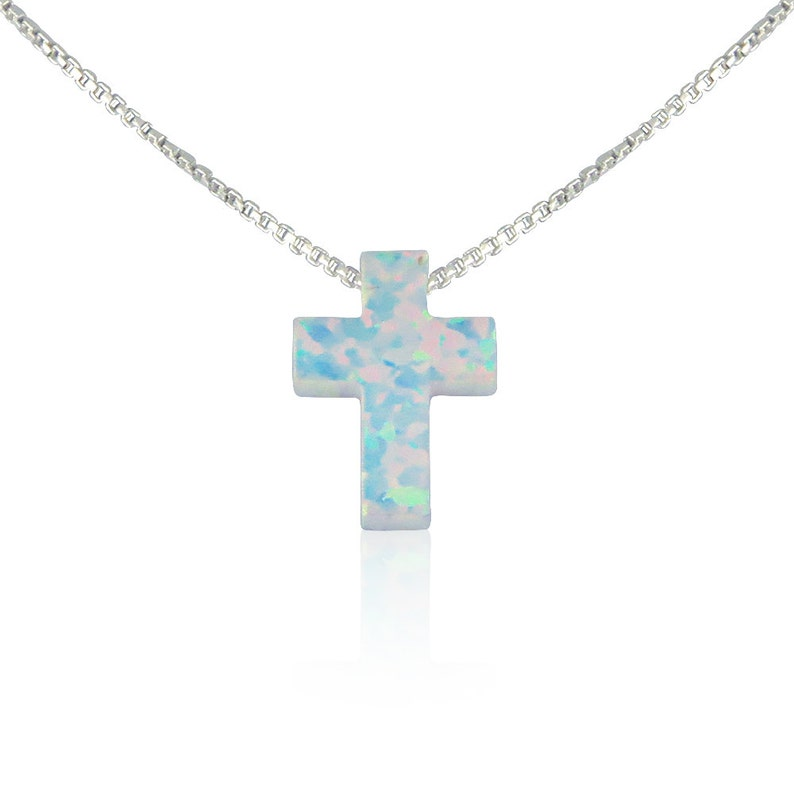 Opal Cross Necklace10 Chain Lengths2 chain white-silver-box