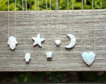 Opal Necklaces in 8 Chain Lengths and 2 Cute Chain Styles.