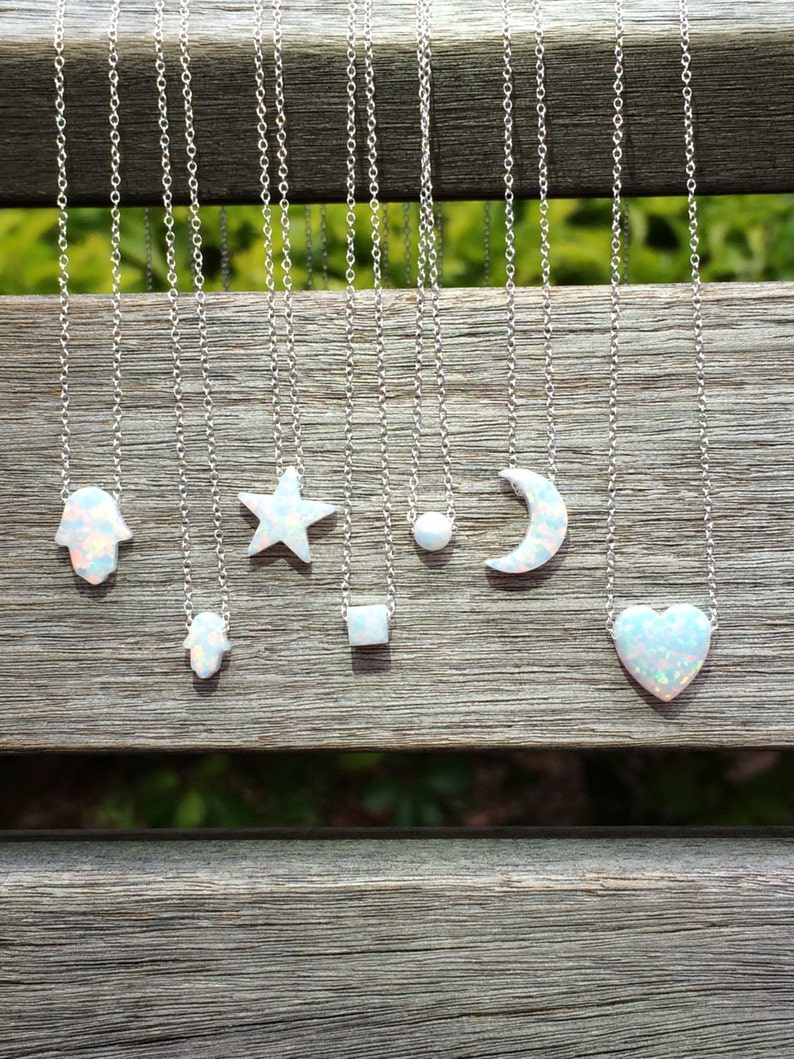 Opal NecklaceOpal Star NecklaceOpal Hamsa NecklaceOpal Moon image 0