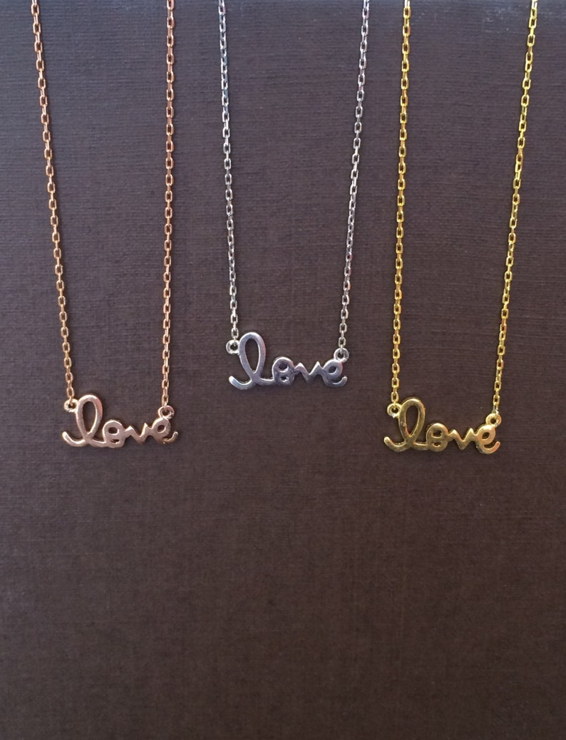 Love NecklaceSterling Silver Love NecklaceGold Love image 0