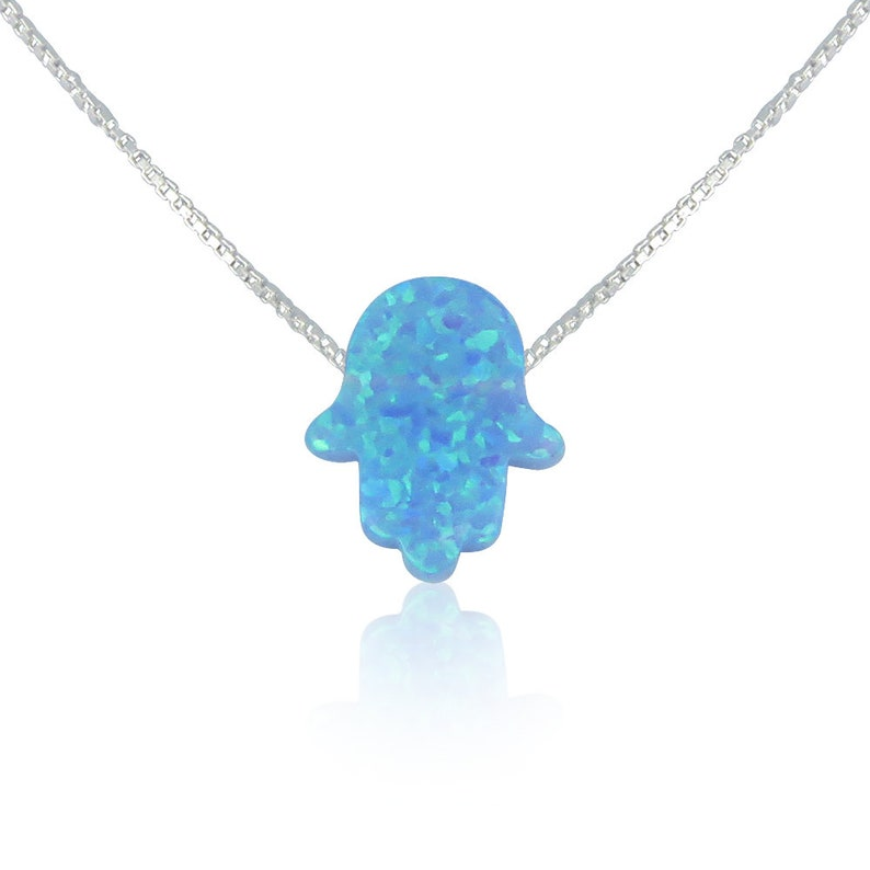 Hamsa Necklace Opal Hamsa Necklace Hamsa Hand Necklace Hand dark-silver-cable