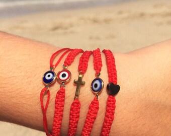 Red String Bracelets- Friendship Bracelets - Protection Red Bracelets - Evil Eye Bracelet - Cross Bracelet - Heart Bracelet - Pulsera Roja