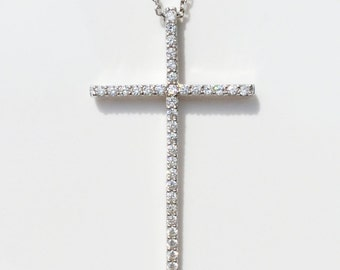 Cross Necklace, Sterling Silver Cross Necklace For Women, Large Cross, Cross Necklace with dazzling cubic zirconia