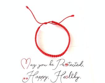 Red Bracelet - Red String Bracelet with Card - Kabbalah Red Bracelet - Good Luck Bracelet - Simple Bracelet - Friendship Bracelet -Hilo Rojo