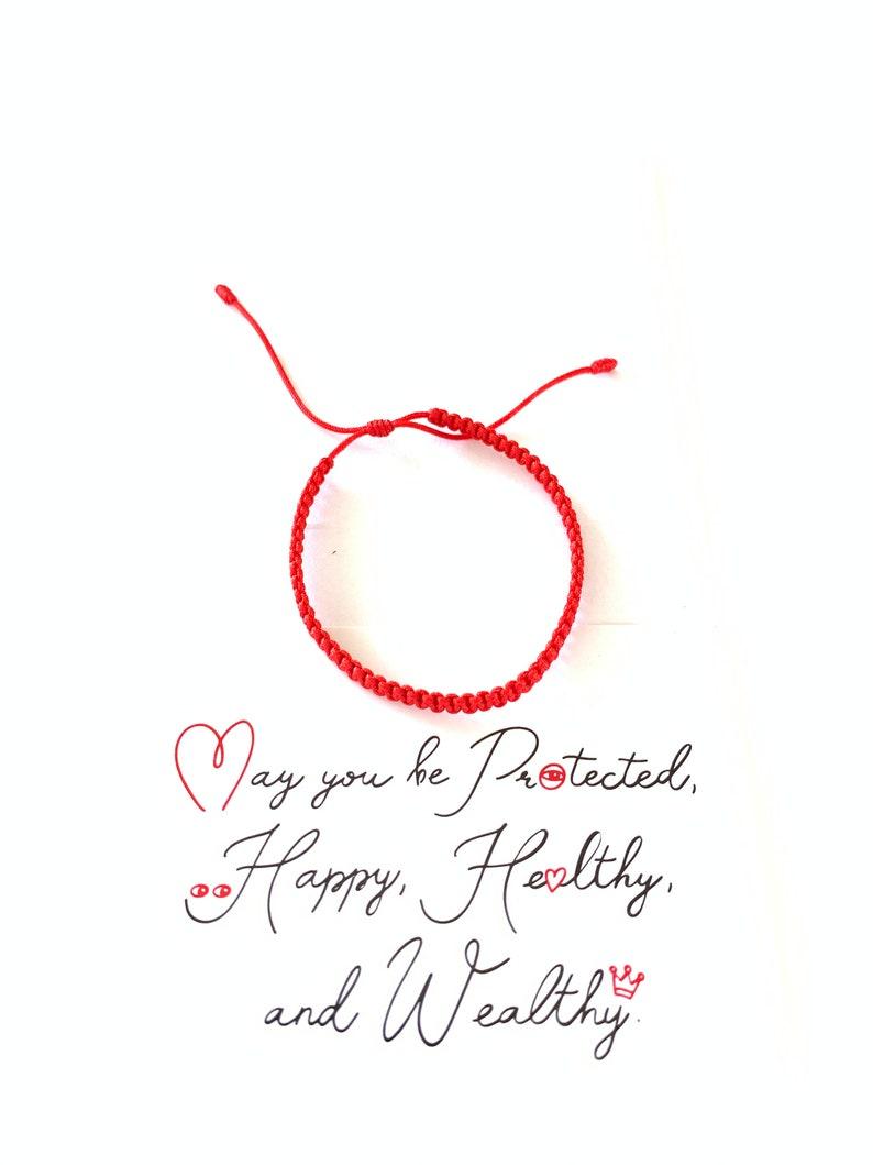 Red Bracelet  Red String Bracelet with Card  Kabbalah Red image 1