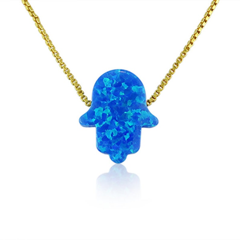 Hamsa Hand Necklace Blue Opal NecklaceWaterproof10 Chain image 0