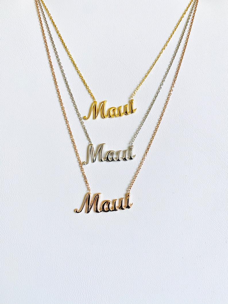 Maui NecklaceHawaii NecklaceMaui Script NecklaceMaui Bride image 0