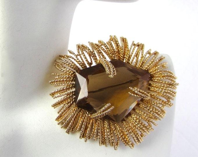 Dramatic smoky quartz CZECH glass brooch ~pretty, vintage costume jewelry.